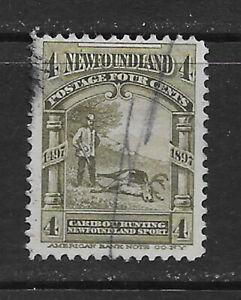 NEWFOUNDLAND , CANADA , 1897 , CARIBOU HUNTING , 4c STAMP , PERF , USED, CV$2.75