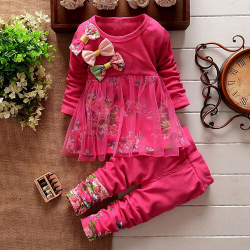 UK Toddler Kids Baby GirlS Floral T Shirt Tops Dresses Pants Outfits Set Clothes