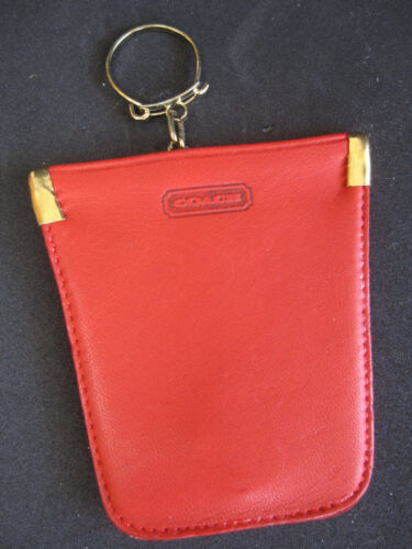 Vtg COACH 7215 Red Leather Squeeze Pouch Key Case