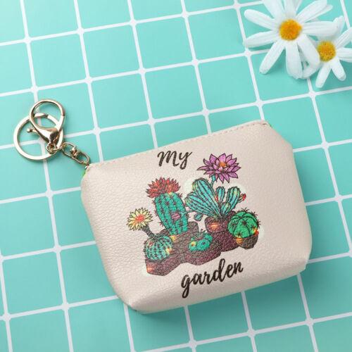 Lovely Cactus Motif Cuir Porte-monnaie Zipper Key Holder Argent Clé Sac