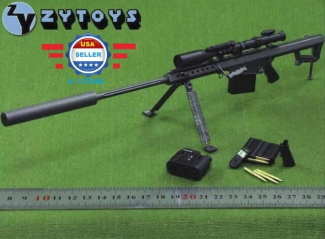 ZY Toys US Barrett M107a1 Sniper Rifle Set Black 1/6 Fit for 12