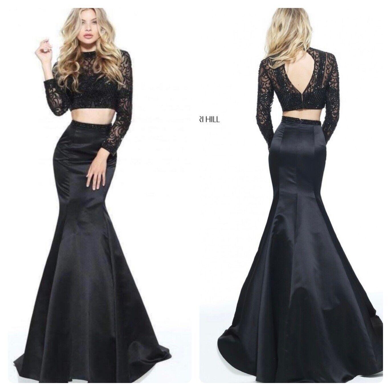 Sherri Hill Women's Black 51107 Beaded Top & Satin Skirt 2-Piece Size 2