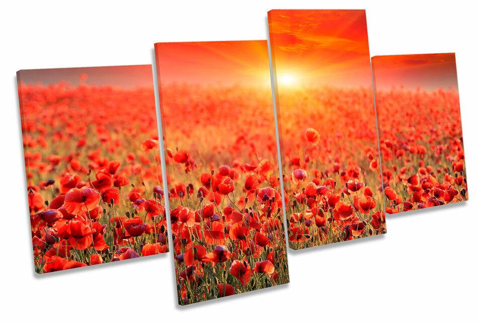 Sunset Poppy Field Landscape MULTI CANVAS WALL ART Print Picture