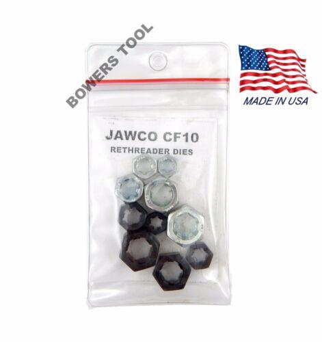 Jawco 10pc CF10 Rethreading Die Set NF-SAE /& NC-USS 1//4-1//2in Thread Restore USA