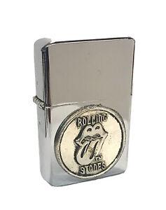 Rolling Stones Logo Pewter Emblem FlipTop Chrome Oil Lighter Wind Resistant