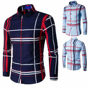 2019-Mens-Grid-Shirts-Slim-Fit-Long-Sleeve-Blouse-Tops-Boys-Stylish-Dress-Shirts