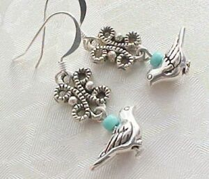 Blue-Bird-Watcher-Earrings-Silver-Bridal-Shower-Party-Favors-Gifts-Women-Love