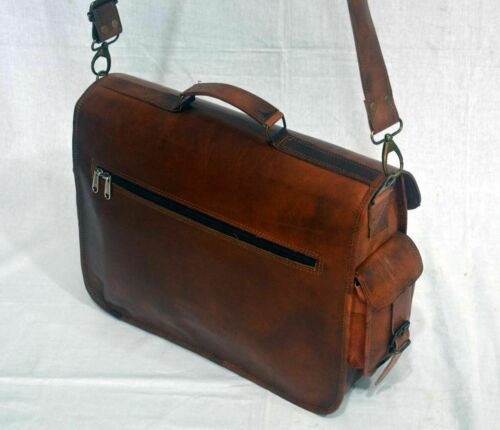 Handmade Men/'s Genuine Leather Vintage Laptop Messenger Briefcase Bag Satchel