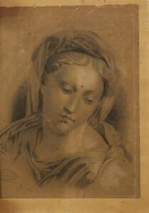 Grande-Disegno-Antico-Raffigurante-un-Ritratto-di-Giovane-Donna-Firma-e-Sigillo