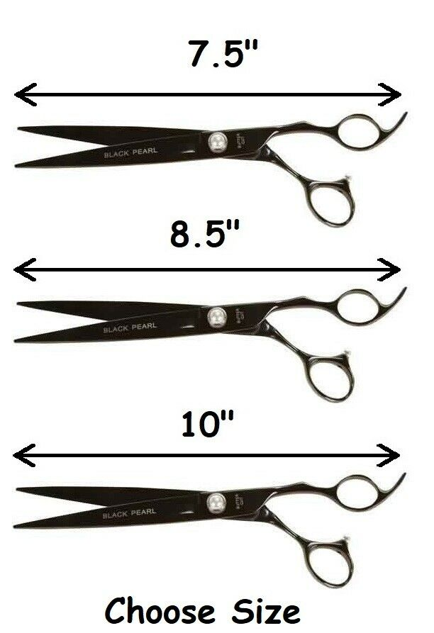 Top Quality nero Pearl Pro Straight or Curved Dog Grooming Shears Titanium Coat