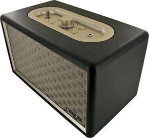 SCHWAIGER Bluetooth Lautsprecher Retro Design Stereo Speaker Lederoptik Holz