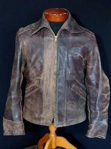 VERY-RARE-VINTAGE-1940-039-S-WWII-ERA-BROWN-HORSEHIDE-LEATHER-JACKET-SIZE-SMALL-38