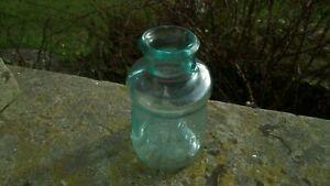 RARE-ANTIQUE-BIXBY-INK-BOTTLE-1883-NICE-ICE-BLUE-AQUA-GLASS-COLOUR