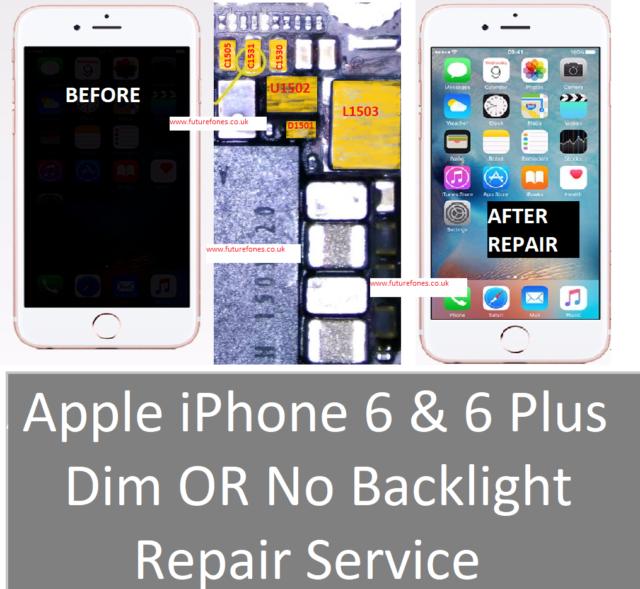 iPhone 6 REPAIR SERVICE NO BACKLIGHT  IC U1502 FIX FILTER L1503 DIODE D1501 COIL