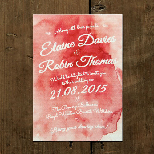 Personalised Watercolour Wedding Invitation Day Evening RSVP Save the Date