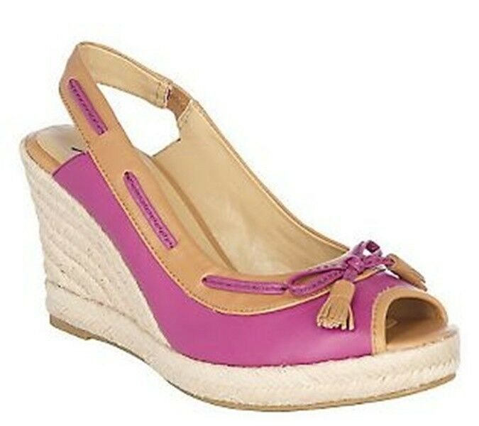 Isaac Mizrahi Leather PICK Peep Toe Espadrilles Wedge Sandals Shoes PICK Leather SIZE COLOR bd65fb