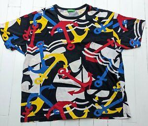 Benetton T-Shirt Herren Größe XXL-ANKER Multicolor Design Cool für Sommer!!!