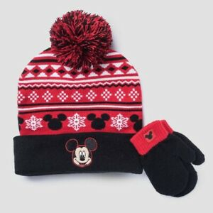 Disney Mickey Mouse Toddler Boys Knit Hat /& Mitten Set NWT Blue or Red One Size