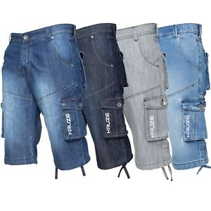 Kruze-Branded-Mens-Cargo-Shorts-Combat-Denim-Knee-Length-Multi-Pocket-Half-Pants