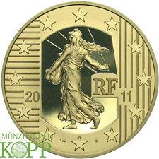 G603) Francia 250 euro 2011 2 OZ Oro ritratta 10 anni Euro