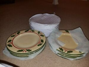 Christmas-Victorian-Holly-Red-Berries-Large-Dinner-Plates-4