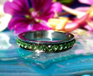 Ring-Stainless-Steel-Ring-Green-Light-Green-Crystal-Band-Ring
