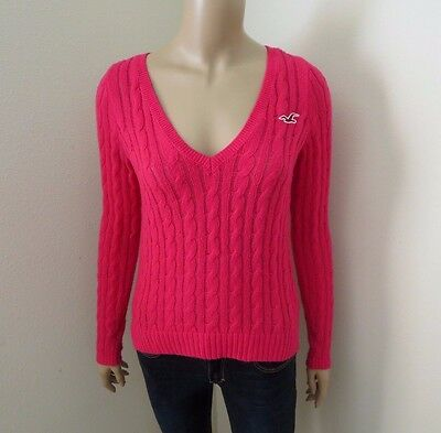 Hollister Womens Knit V-Neck Sweater Size XS Top Shirt Hot Pink Sweatshirt