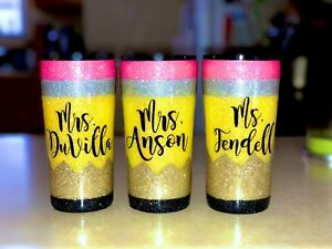 Details About Personalized Glitter Pencil Tumbler 30 Oz Tumbler Personalized Teacher Gift