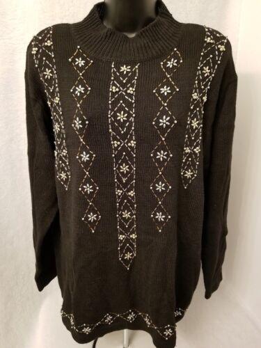 Perler Guld Størrelse Nwt L Studio W Collection 43524607614 Sølv Kvinder Sweater Top Sort qWZ0C