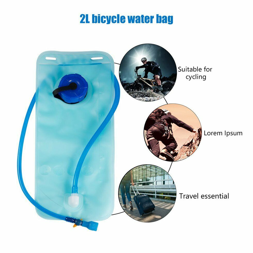 3L BPA Free Foldable Cycling Mouth Water Bladder Bag Hydration Outdoor Sport