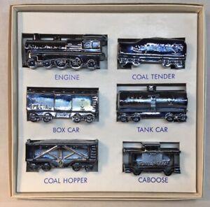 Boyd-Art-Glass-Six-Piece-Ebony-Carnival-Boyd-s-Special-Train-Set-Original-Box