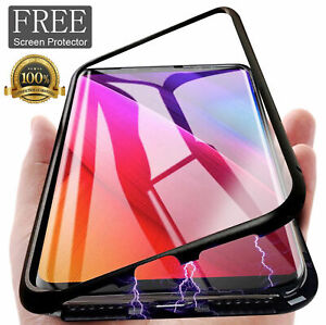 Magnetic-Adsorption-Metal-Case-Tempered-Glass-Cover-For-Samsung-Galaxy-S10-Plus