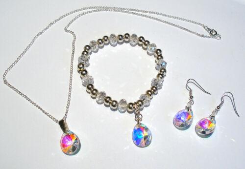 « AAA » grado Arco Iris AB cristal de vidrio en forma de lágrima Collar Aretes Y Pulsera Set