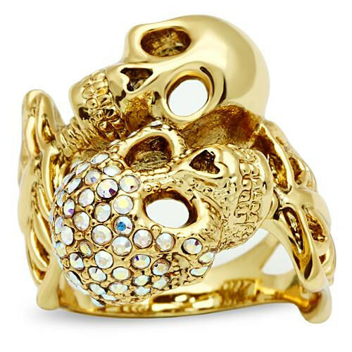 Double Skull With Aurora Borealis Crystal Gold EP Mens Ring