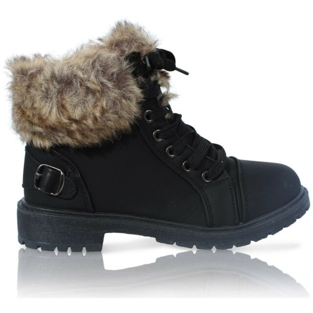 822383f39c6e7 Ladies Womens Faux Fur Grip Sole Winter Warm Ankle BOOTS Trainers ...