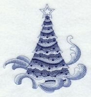 Delft Blue Christmas Tree Holiday 8 Machine Embroidered Quilt Block (hp)