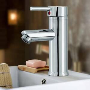 Robinets-de-salle-de-bain-Mitigeur-d-039-evier-de-lavabo-Robinet-chrome-et-2-tuyaux