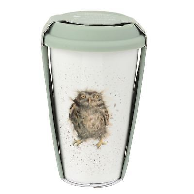 RABBIT BROWN WHITE GREEN CERAMIC TRAVEL MUG WITH SILICONE LID H15.5CM X W9.5CM