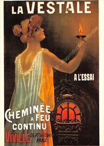 CP Poster Advertising La Vestal Chimney With Fire Dc Paris Edit Nugeron J37