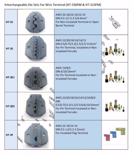 Interchangeable Die HT-2E2 Automotive Pin Terminal Ratchet Crimping Tool
