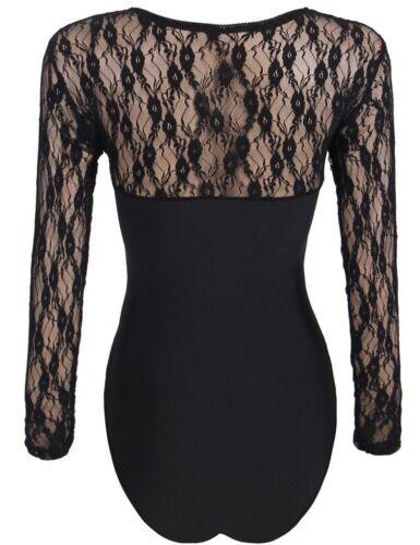 Ladies Underwear Body Black with Lace Transparent Crewneck Long Sleeve S