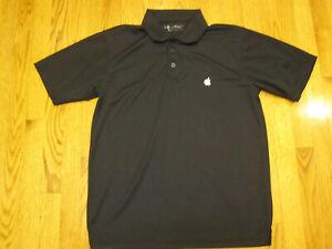 Apple Polo Mens Medium Black Embroidered Apple Logo Polyester