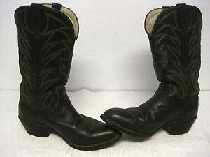 b36952eeab0 Details about Vintage Men's DURANGO Lea Vamp Fox Black Western Cowboy Boots  Size 9 1/2 EE-USA