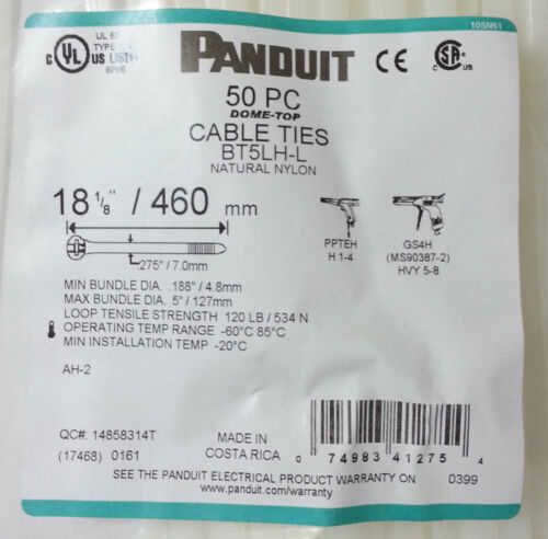 Panduit Cable Ties 18.1inch Stainless Steel Barb 120lb DOME-TOP BT5LH-L NEW 50pc