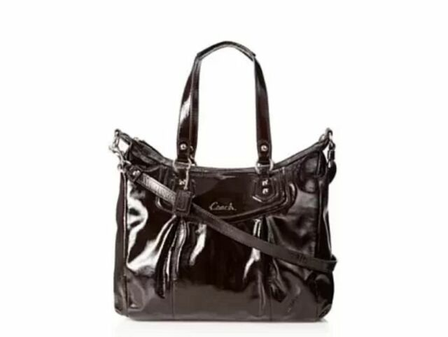 New Coach Mahogany Brown Patent Leather Ashley Shoulder Bag 20451 F20451