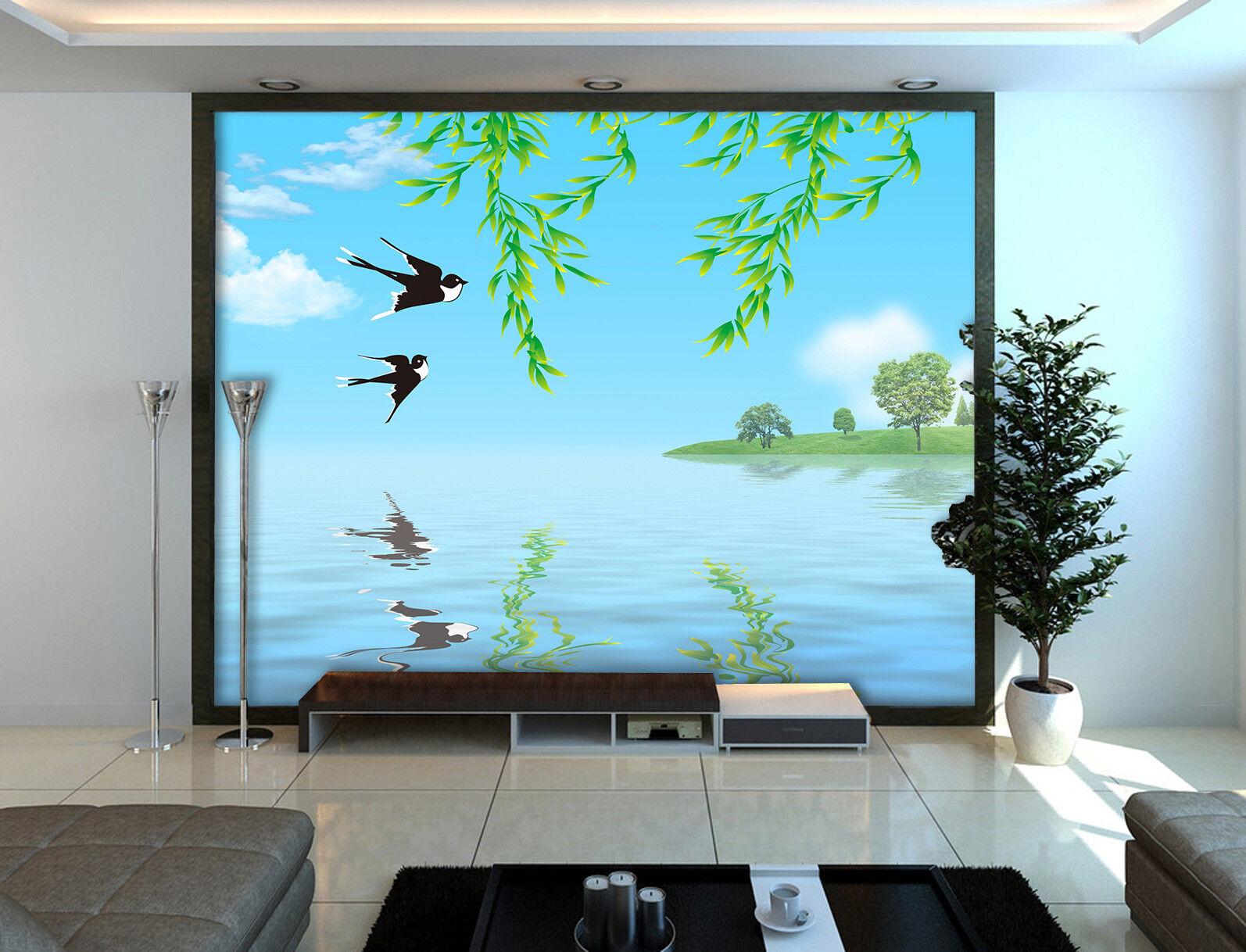 3D Swallows Willow 86 Wall Paper Murals Wall Print Wall Wallpaper Mural AU Kyra
