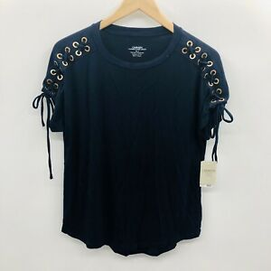 Carmen-Marc-Valvo-Womens-Small-Short-Sleeve-Lace-Detail-Knit-Top-Navy-Blue-696
