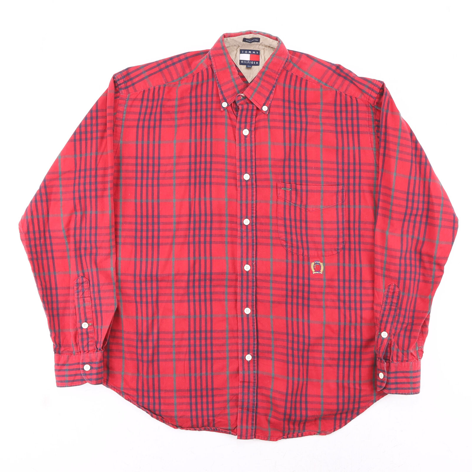 TOMMY HILFIGER Red Classic Long Sleeve Casual Shirt Mens M