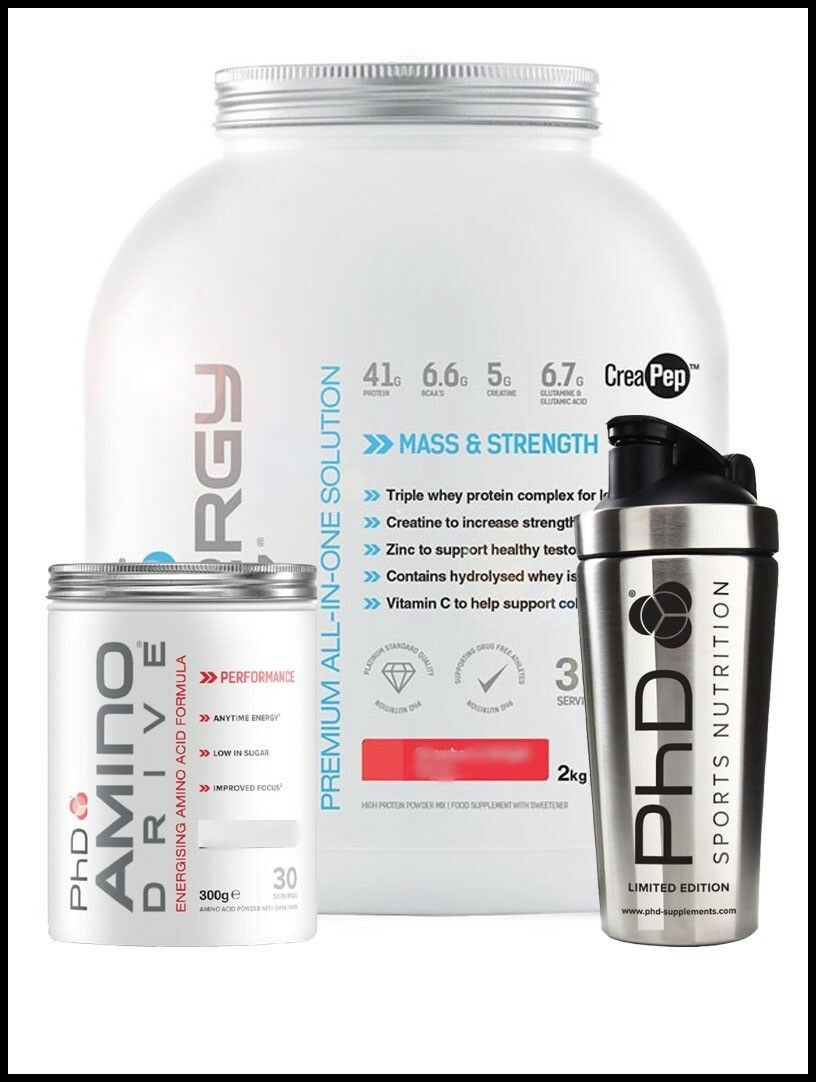 PHD Synergy ISO-7 Strawberry Bundle Strawberry ISO-7 2kg Protein + Amino Drive + Steel Shaker 8b28f0