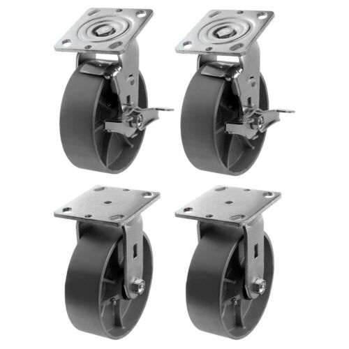 "6/""4Pack Heavy Duty Steel Caster Iron Wheel w//Top Plate /&Extra 2/"" Width 4800lb"
